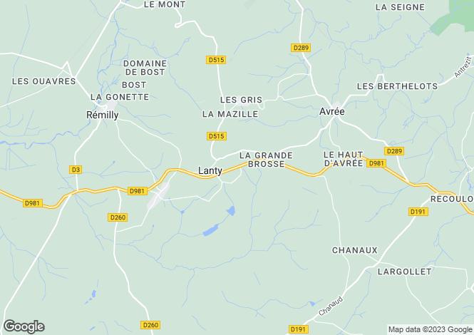 Map for Lanty, Bourgogne, 58250, France