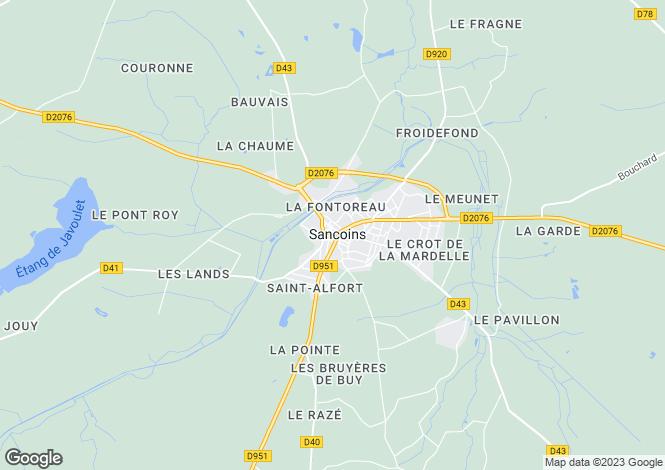 Map for sancoins, Cher, France