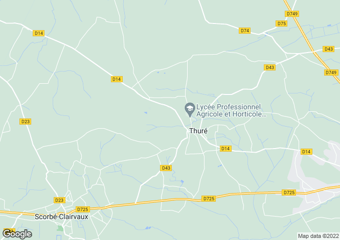 Map for Poitou-Charentes, Vienne, Thuré