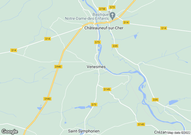 Map for venesmes, Cher, France