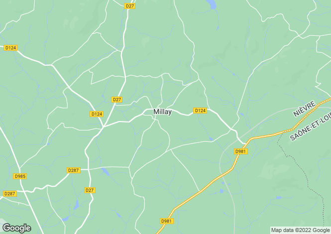 Map for Millay, Nièvre, Burgundy