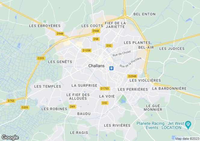 Map for Pays de la Loire, Vendée, Challans