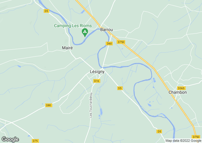 Map for lesigny, Vienne, France