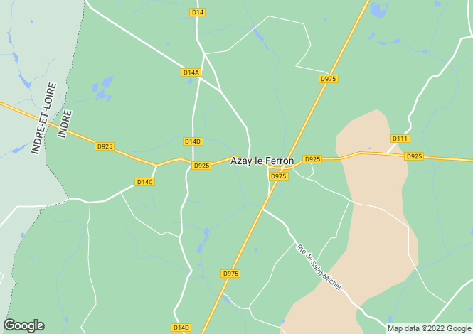Map for azay-le-ferron, Indre, France