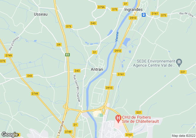 Map for antran, Vienne, France