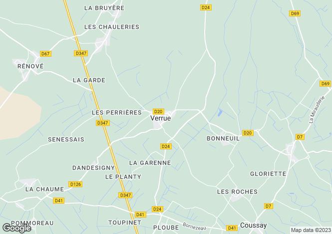 Map for Poitou-Charentes, Vienne, Verrue