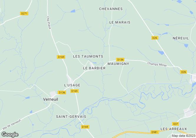 Map for Verneuil, Bourgogne, 58300, France