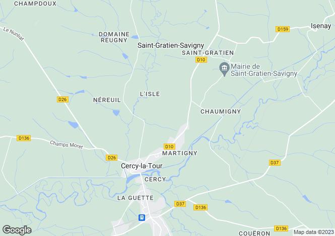 Map for Cercy La Tour, Bourgogne, 58340, France