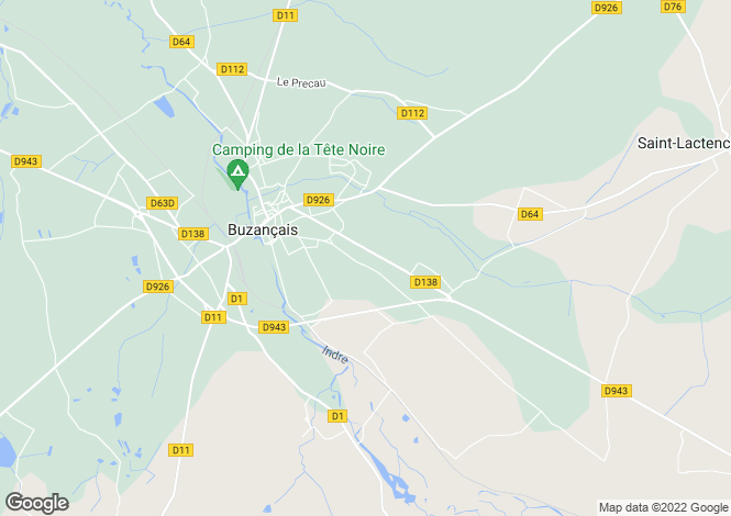 Map for buzancais, Indre, France