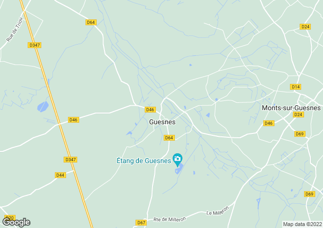 Map for guesnes, Vienne, France