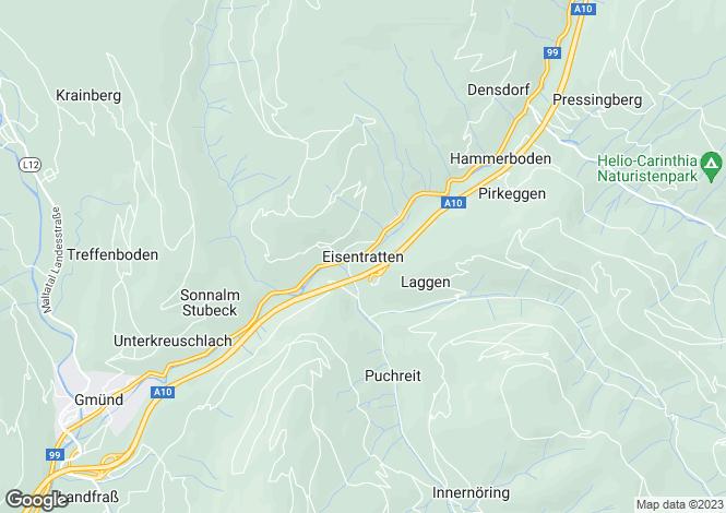 Map for Kärnten, Spittal an der Drau, Gmünd, Austria