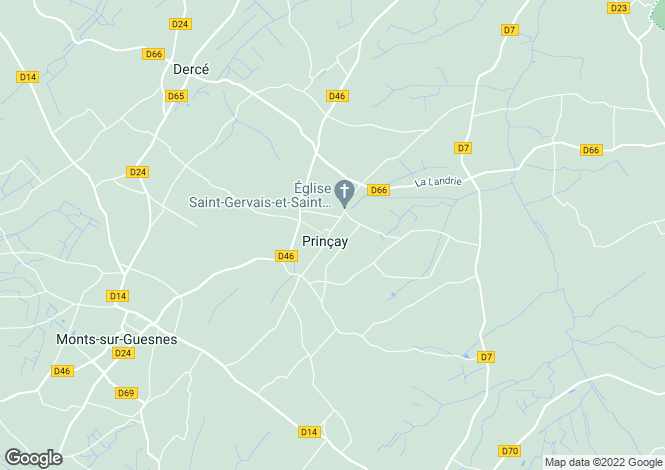 Map for Poitou-Charentes, Vienne, Prinçay