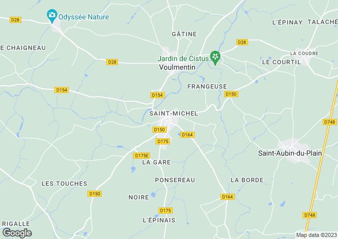 Map for Poitou-Charentes, Deux-Sèvres, Voultegon