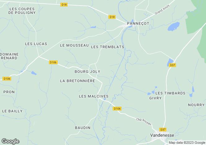Map for Isenay, Bourgogne, 58290, France