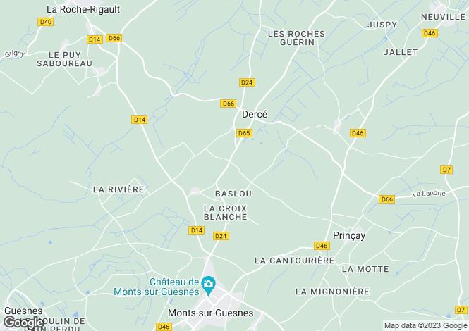 Map for Poitou-Charentes, Vienne, Dercé