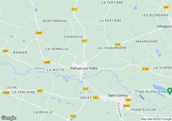 Map for palluau-sur-indre, Indre, France