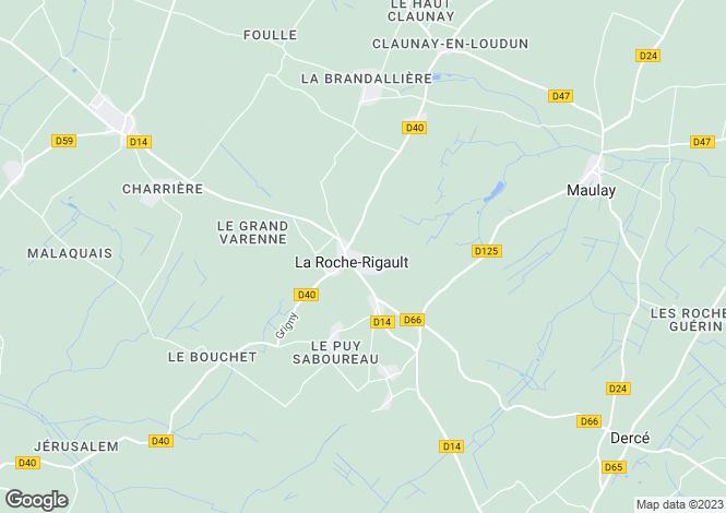 Map for Poitou-Charentes, Vienne, La Roche-Rigault
