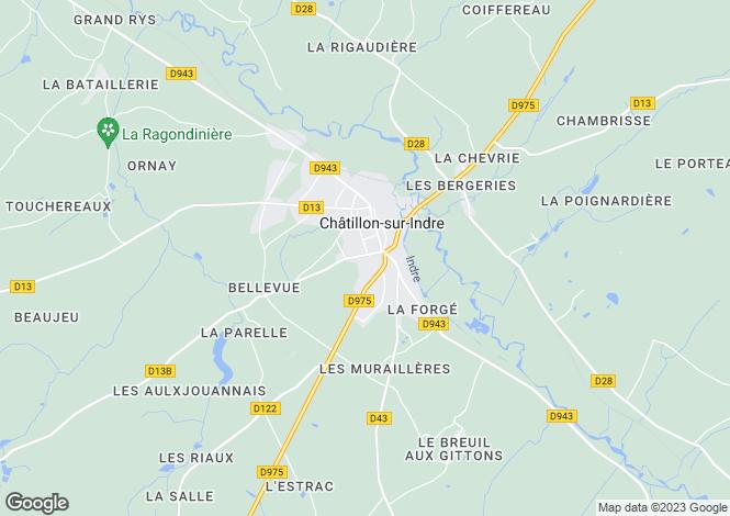 Map for chatillon-sur-indre, Indre, France