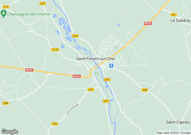 Map for st-florent-sur-cher, Cher, France