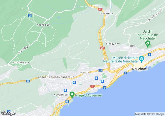 Map for Neuchâtel, Peseux
