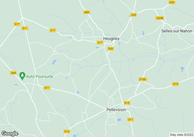 Map for heugnes, Indre, France