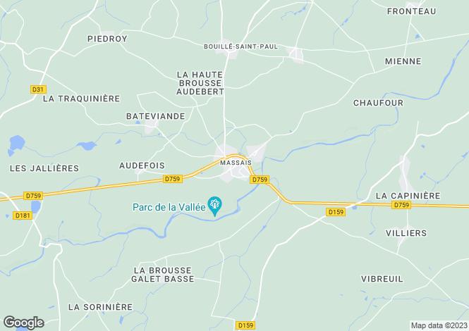 Map for Poitou-Charentes, Deux-Sèvres, Massais