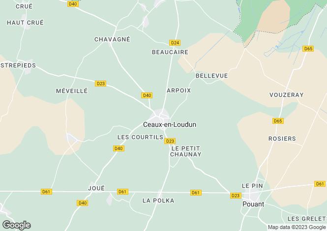 Map for Poitou-Charentes, Vienne, Ceaux-en-Loudun