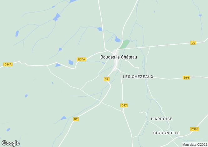 Map for Centre, Indre, Bouges-le-Château
