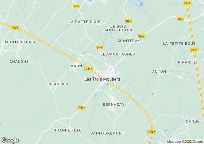 Map for Poitou-Charentes, Vienne, Les Trois-Moutiers