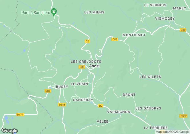 Map for Anost, Saône-et-Loire, Burgundy