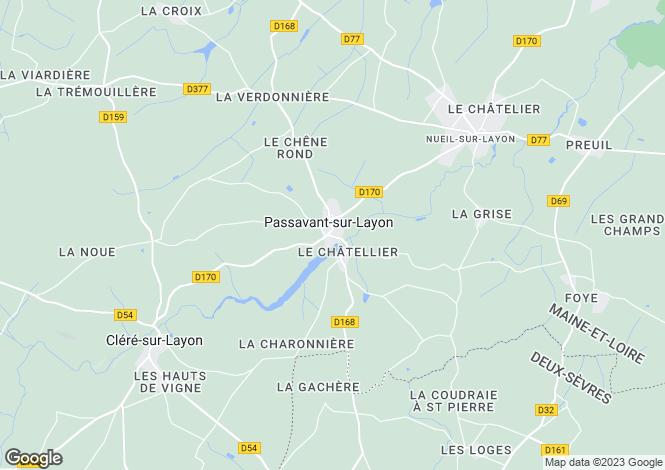 Map for Pays de la Loire, Maine-et-Loire, Passavant-sur-Layon