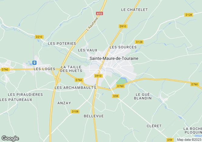 Map for ste-maure-de-touraine, Indre-et-Loire, France