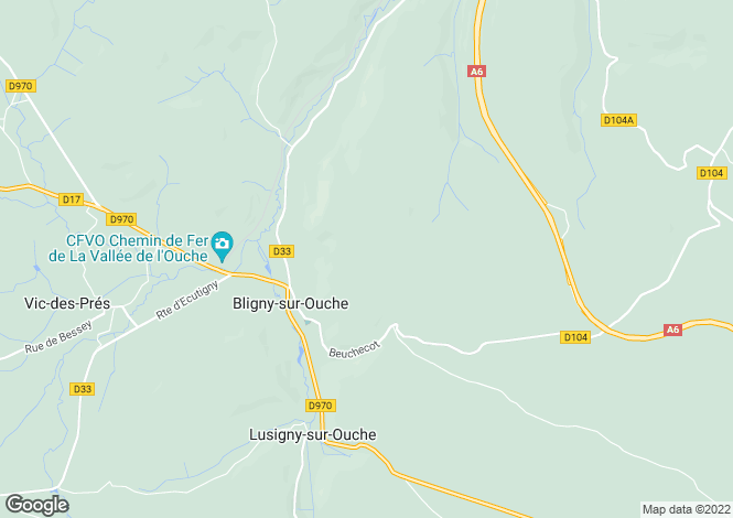 Map for Bligny-sur-Ouche, Côte-d`Or, Burgundy