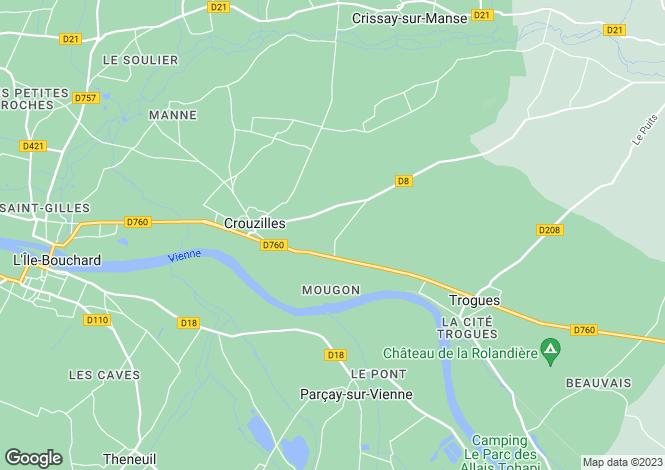 Map for crouzilles, Indre-et-Loire, France