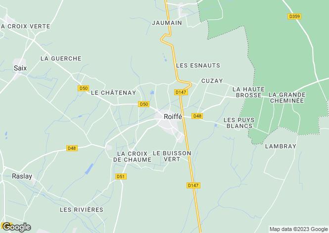 Map for Poitou-Charentes, Vienne, Roiffé