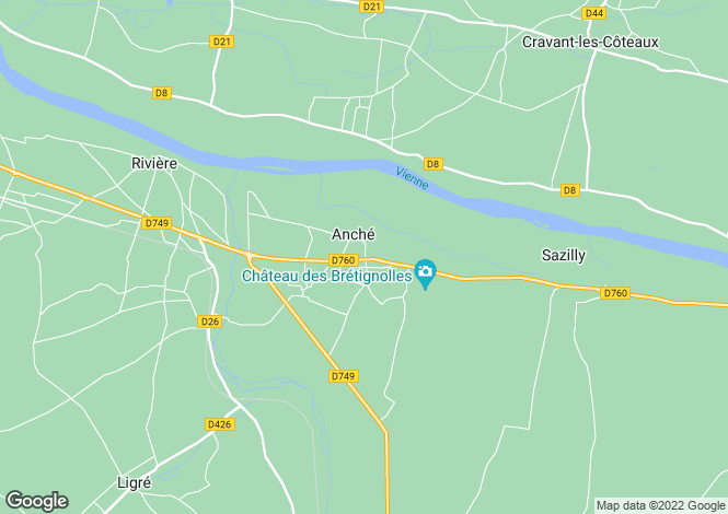 Map for anche, Indre-et-Loire, France