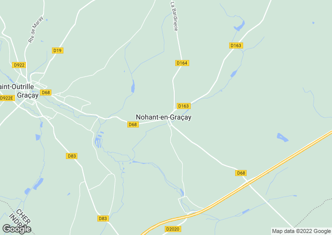 Map for nohant-en-gracay, Cher, France