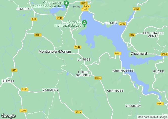 Map for Montigny-En-Morvan, Bourgogne, 58120, France