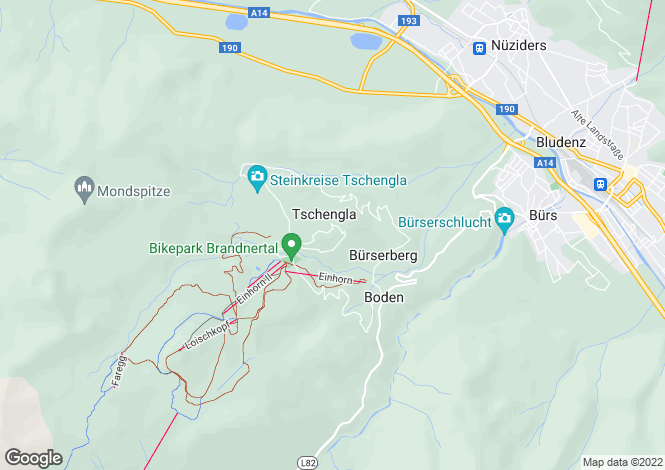 Map for Brand, Bludenz, Vorarlberg