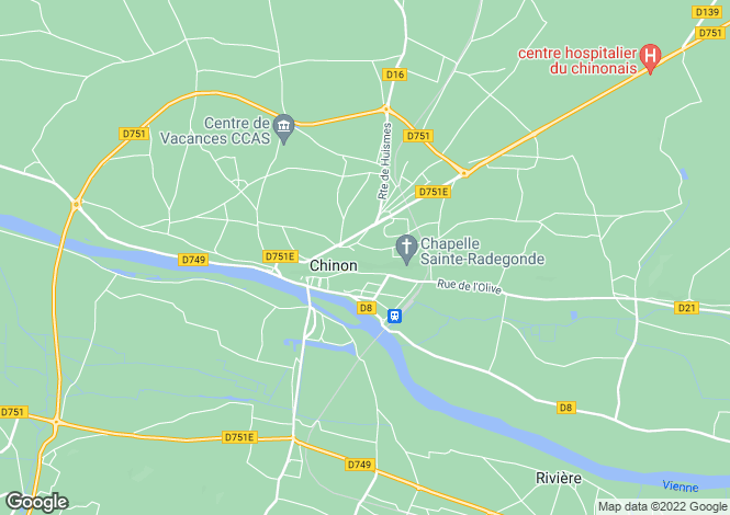 Map for chinon, Indre-et-Loire, France