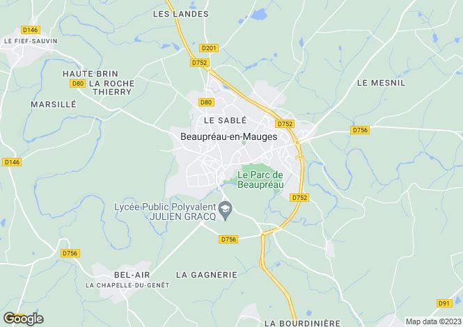 Map for beaupreau, Maine-et-Loire, France