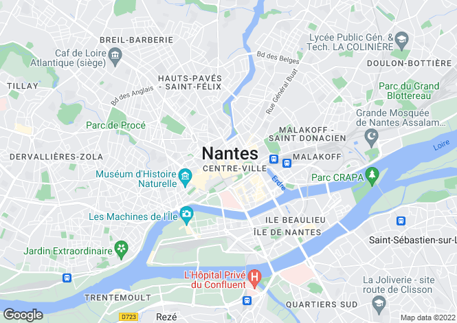 Map for nantes, Loire-Atlantique, France