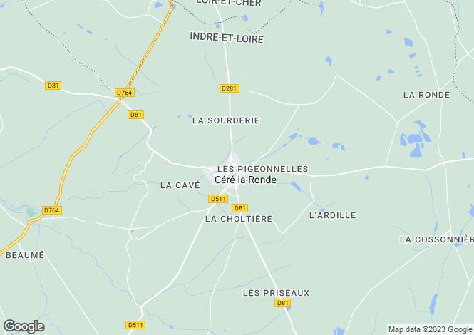 Map for Centre, Indre-et-Loire, Céré-la-Ronde