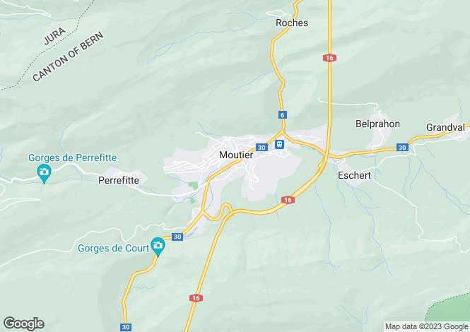 Map for Switzerland - Bern, Moutier