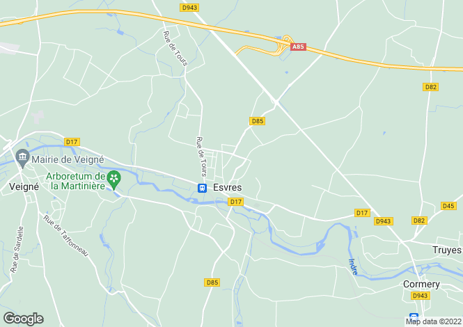Map for esvres, Indre-et-Loire, France