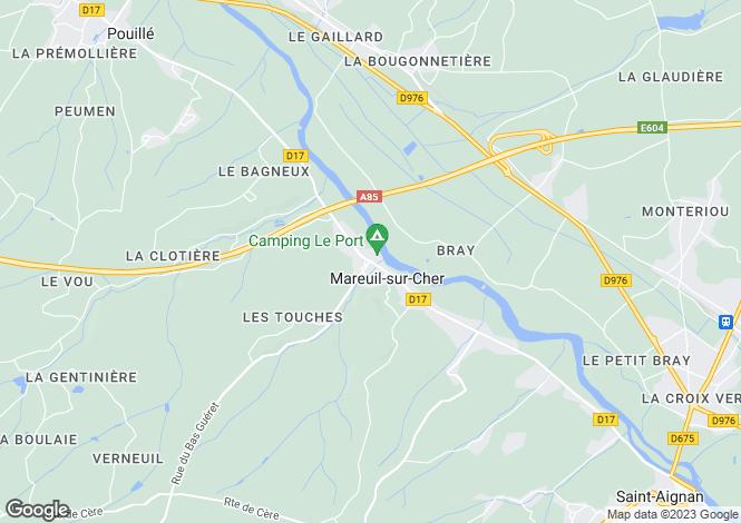 Map for mareuil-sur-cher, Loir-et-Cher, France