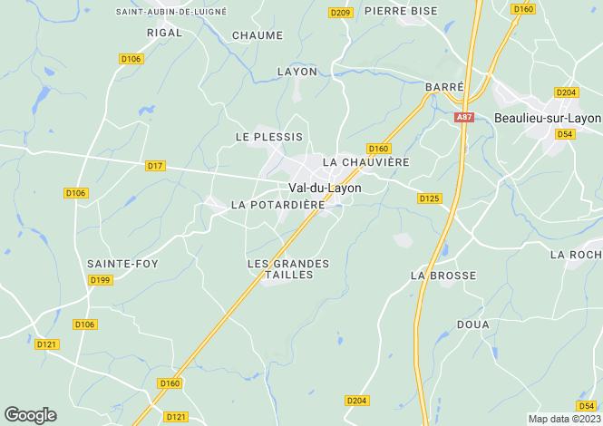 Map for St-Lambert-du-Lattay, Maine-et-Loire, Pays de la Loire