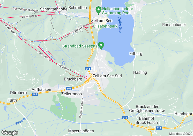 Map for Zell am See, Pinzgau, Salzburg