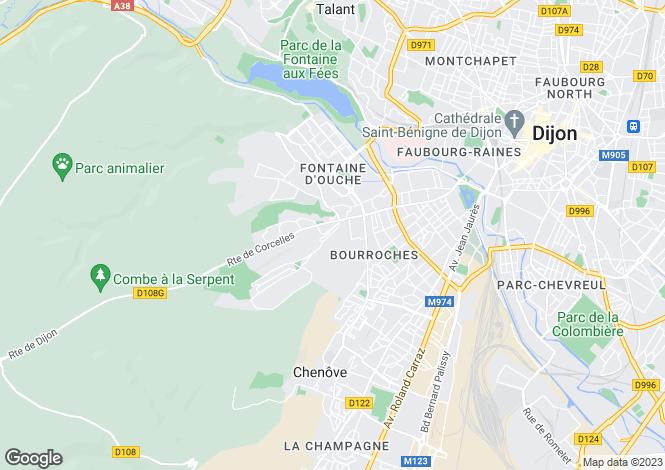 Map for Dijon, Bourgogne, 21000, France