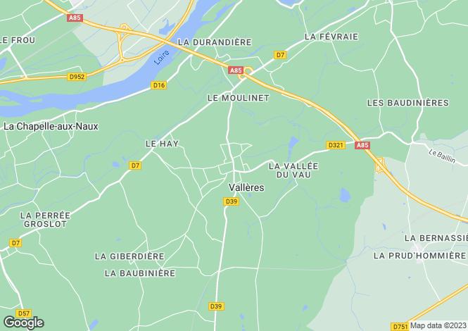 Map for valleres, Indre-et-Loire, France